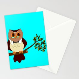A Wise Ole Owl on a Branch Stationery Cards