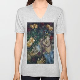 Lovers With Flowers, floral portrait painting by Marc Chagall Unisex V-Neck