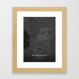 Kumamoto, Japan - Dark Map Framed Art Print