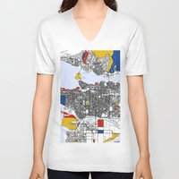 mondrian V-neck T-shirts featuring Vanvouver Mondrian by Mondrian Maps