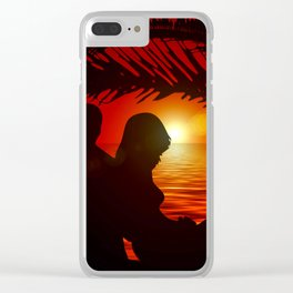 Silhouette Pair Sunset Tree Longing Love Clear iPhone Case