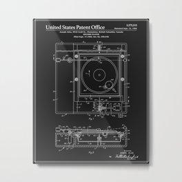 Record Player Patent - Black Metal Print