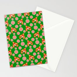 swallows birds with spread wings and dusty pink blooming roses seamless vintage retro green pattern Stationery Cards