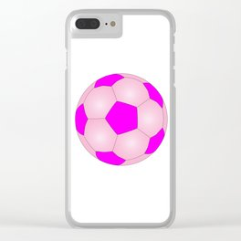 Pink And White Football Clear iPhone Case