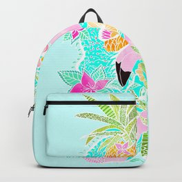 Tropical summer watercolor flamingo floral pineapple Backpack