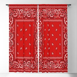 Bandana in Red - Classic Red Bandana  Blackout Curtain