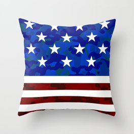 US Flag (Camouflage) Throw Pillow