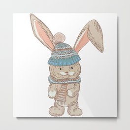 Cute bunny in winter hat and scarf Metal Print