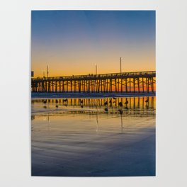 Seagull Sunset at Newport Pier Poster
