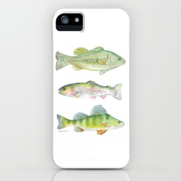 Fishing Watercolor Painting iPhone Case
