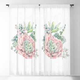 Pink Succulents Watercolor by Nature Magick Blackout Curtain