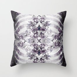 Floral Abstract Ribcage Throw Pillow