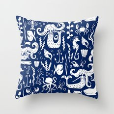 Under The Sea Navy Blue Throw Pillow