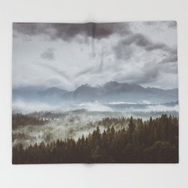 Misty mountains - Landscape and Nature Photography Throw Blanket