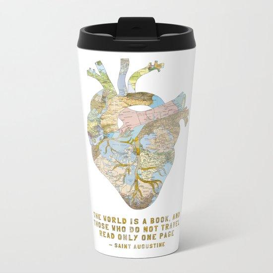 A Traveler's Heart + Quote Metal Travel Mug
