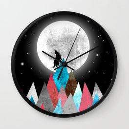 Wolf on Blue Peak Wall Clock