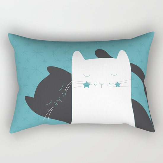Black White Cats Rectangular Pillow