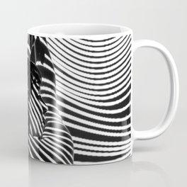 Minimalist Abstract Modern Ripple Lines Projected Woman Sensual Cool Feminine Black and White Photo Coffee Mug