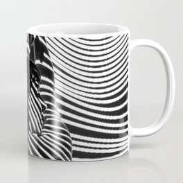 Minimalist Abstract Modern Ripple Lines Projected Woman Sensual Cool Feminine Black and White Photo Kaffeebecher