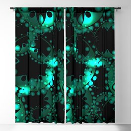Abstract glowing pattern of soap bubbles and gears in azure design on a black background. Blackout Curtain
