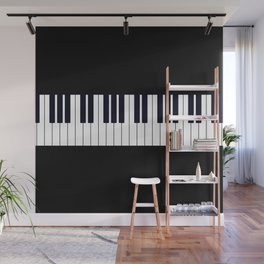 Piano Keys - Black and white simple piano keys pattern minimalistic music themed artwork Wall Mural