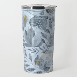 Blue Grey Succulent And Leaf Pattern With Gold Travel Mug