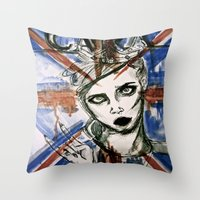 uk Throw Pillows featuring UK by Thomasine