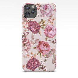 Blush Pink and Red Watercolor Floral Roses iPhone Case