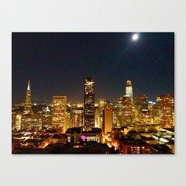 San Francisco at night, illuminated by the Moon Canvas Print