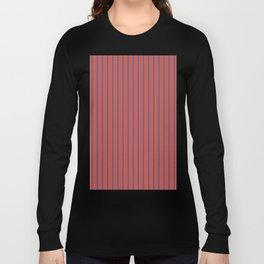 Minimalist Vertical Geometric Seamless Stripe Red & Navy Pattern Long Sleeve T-shirt