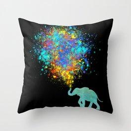Elephant Colorful Celebration - watercolor splatter Throw Pillow