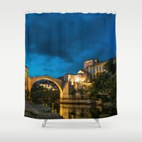 islam Shower Curtains featuring Mostar at night by Fatih