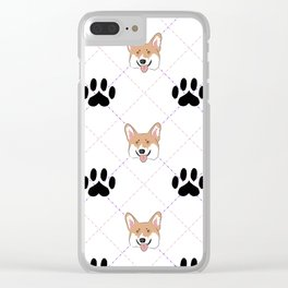 Corgi paw print pattern Clear iPhone Case