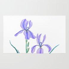 vintage purple iris watercolor Rug