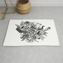 Abstract Combination Crazy Cartoons Rug