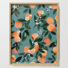 Dear Clementine - oranges teal by Crystal Walen Serving Tray