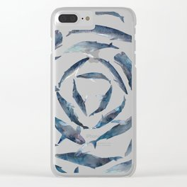 Circular Blue Wales Clear iPhone Case