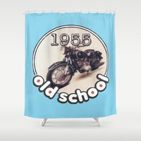 bmw Shower Curtains featuring Old School BMW by Guido prussia