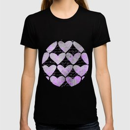 Pink Purple Heart Typography Pattern T-shirt