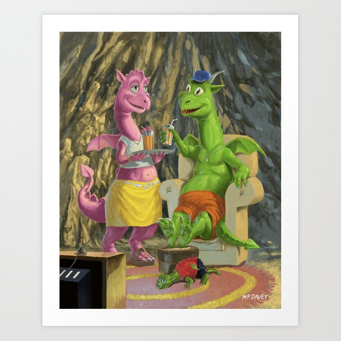 dragon family relaxing in front of the TV Art Print by  martindaveyillustration   Society6
