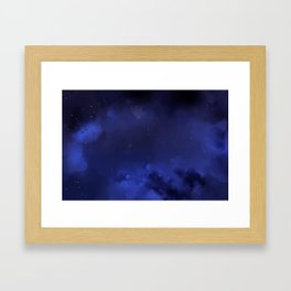 Navy Blue Sky Galaxy Painting Framed Art Print