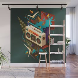Bust Out The Jams Retro 80s Boombox Splash Wall Mural