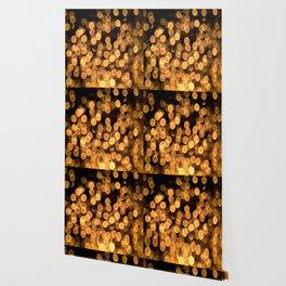 Golden Bokeh Light On A Black Background #decor #society6 Wallpaper