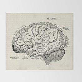 Vintage medical illustration of the human brain Throw Blanket