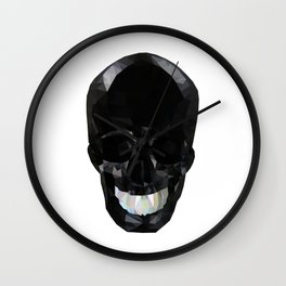 Skull Black Low Poly Wall Clock