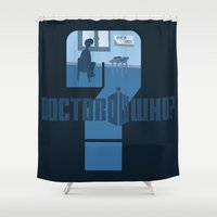 dr who Shower Curtains featuring Dr Who? by Anarchtee's