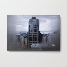 Seattle Skyline and Space Needle on a Cloudy Day Metal Print