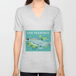 San Francisco, California - Collage Illustration by Loose Petals Unisex V-Neck