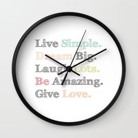 calendars Wall Clocks featuring Inspiration Typography Quote Words Pastel  by Shabby Studios Design & Illustrations ..