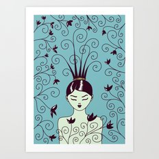 Strange Hair And Flowery Swirls Art Print